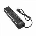 USB hub No Brand, USB 2.0, 7 θύρες, μαύρο